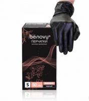 Перчатки одноразовые виниловые Benovy М - черные (100 шт./уп)
