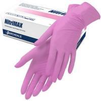 Перчатки одноразовые нитриловые NitriMAX Розовые (размер M), 100 шт.