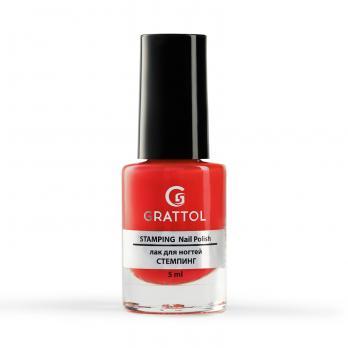 Лак для стемпинга Grattol Nail Polish Stamping Red, 6,5 мл (красный)